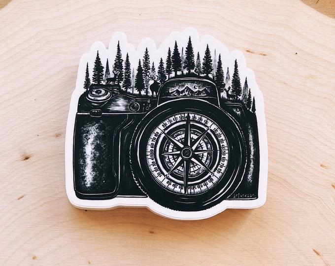 Camera + Compass Vinyl Sticker