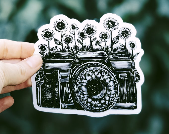 Camera + Sunflowers Vinyl Sticker  - Waterproof Adventure, Nature, Wildlife Water Bottle Sticker, Car, Laptop, Phone Decal, Best Friend Gift