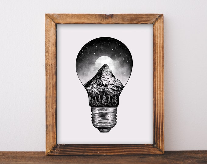 Mountain Lightbulb Art Print