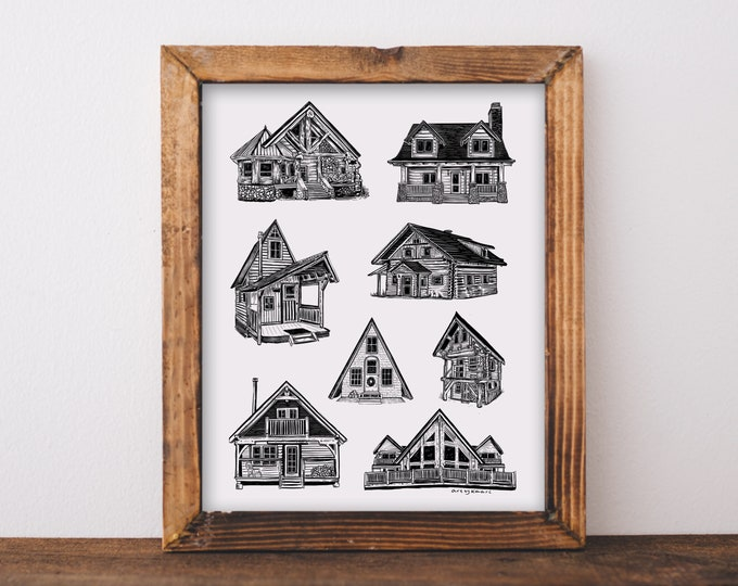Cozy Homes & Cabins Art Print