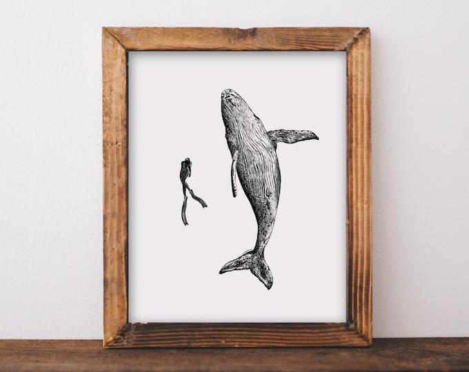 Whale + Scuba Diver Art Print