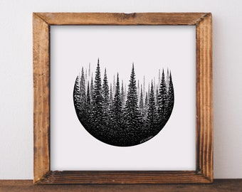 Treescape Circle Art Print