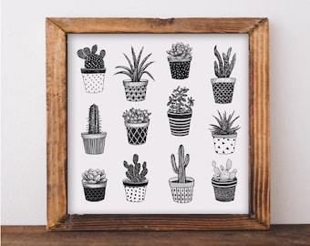 Cactus and Succulent Plant Pots Art Print