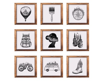 Personalized Print Sets - Set of 4, 6, 9 or 16 Art Prints, choose ANY drawing from my shop, Create your own Gallery Wall