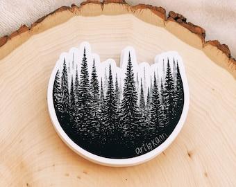Treescape Circle Vinyl Sticker