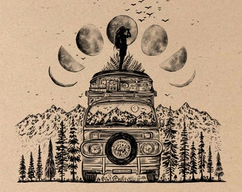 Van + Moon Phases Fine Art Print on Toned Tan Paper