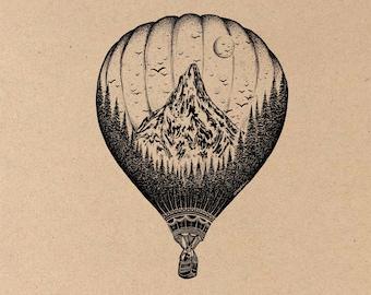 Hot Air Balloon Fine Art Print on Toned Tan Paper