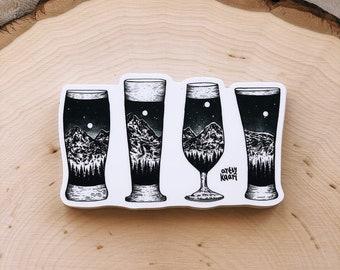 Mountain Beer Glasses Vinyl Sticker