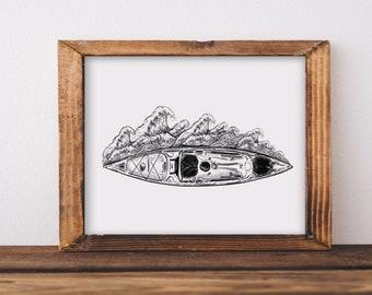 Kayak + Waves Fine Art Print