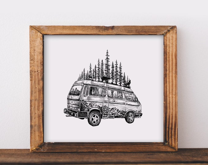 Forested Van with Animals Fine Art Print