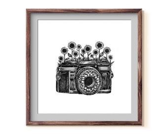 Camera + Sunflower Fine Art Print