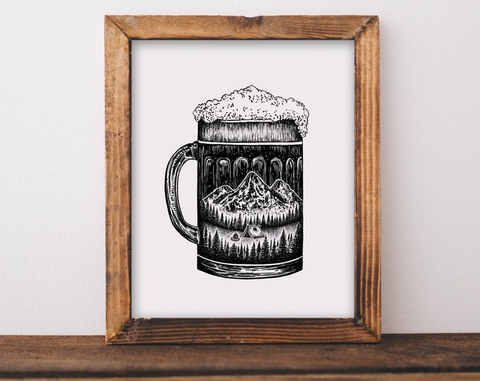 Mountainous Beer Glass Art Print