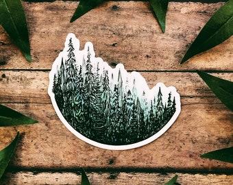 Watercolor Treescape Vinyl Sticker