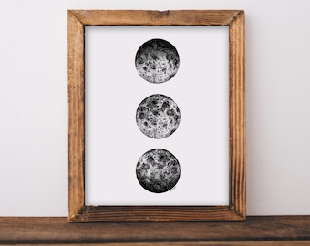 3 Moon Phases Art Print