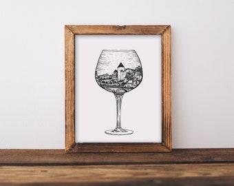 Burgundy French Wine Glass (Semur-en-Axois, France) Art Print