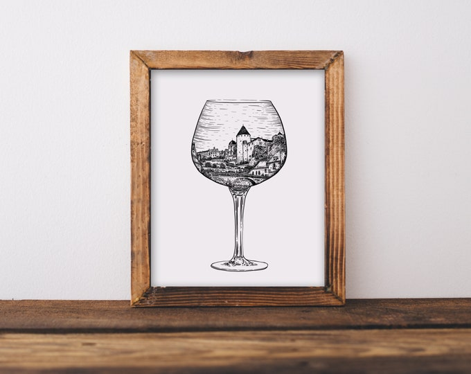 Burgundy French Wine Glass (Semur-en-Axois, France) Art Print