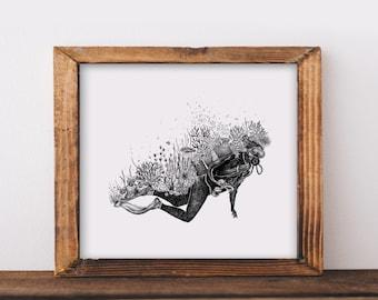 Coral Reef + Scuba Diver Art Print