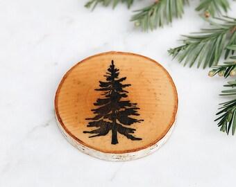 Tree I Individual Wood Coaster (Handmade, Individually-Stamped, Natural Birch Coaster)