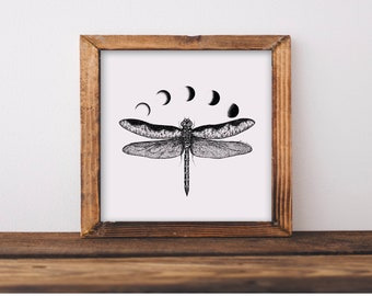 Mountainous Dragonfly + Moon Phases Fine Art Print