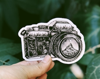Camera + Mountain Lens Vinyl Sticker - Wanderlust Sticker, Nature Photography Sticker, Explore Sticker, Adventure Laptop Sticker Waterproof