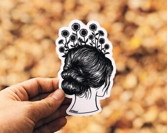 Sunflower Girl Vinyl Sticker