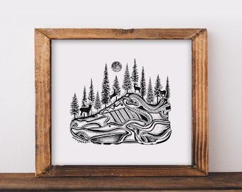 Forested Running Shoe Art Print