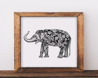 Floral Elephant Art Print