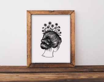 Sunflower Girl Fine Art Print