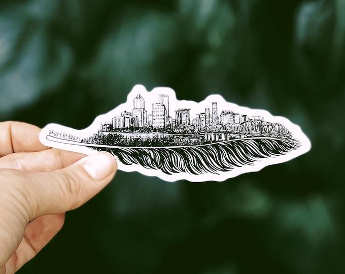 Feathered Portland Skyline Vinyl Sticker