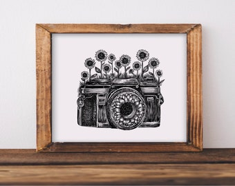 Camera + Sunflowers Art Print