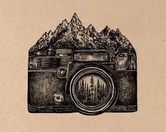 Mountainous Camera Fine Art Print on Toned Tan Paper