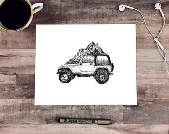 Mountainous Jeep Fine Art Print