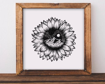 Mountainous Sunflower Fine Art Print