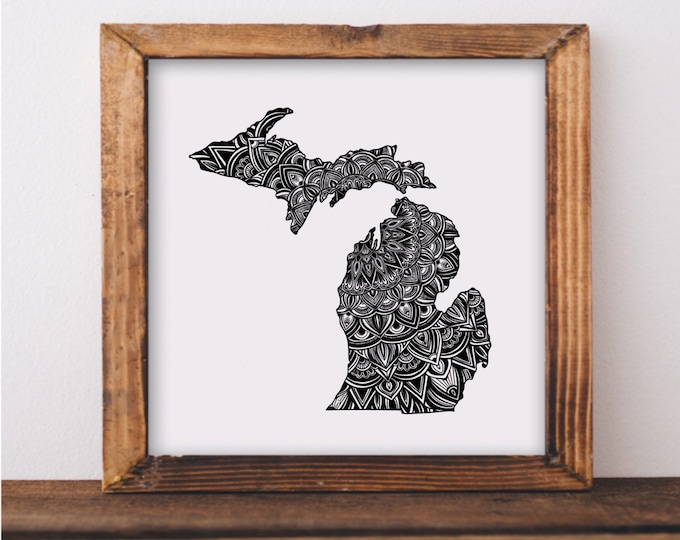 Michigan Mandala State Outline Fine Art Print