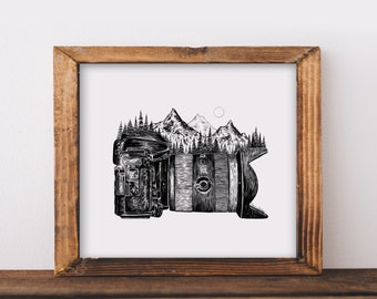 Mountainous Camera (Side View) Fine Art Print