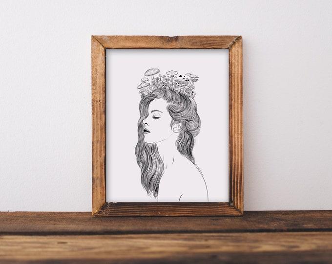 Mushroom Girl Fine Art Print