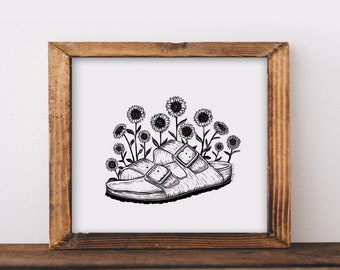 Birkenstocks + Sunflowers Fine Art Print