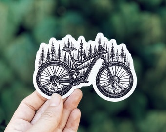 Forested Bicycle Vinyl Sticker
