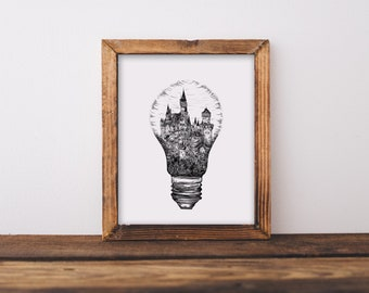 Light Bulb + Castle Art Print