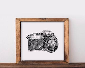 Camera + Mountain Lens Fine Art Print