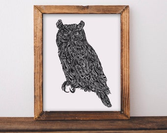Owl Zentangle Fine Art Print