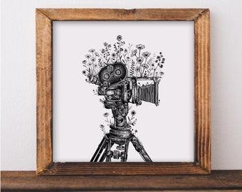 Floral Old-School Camcorder Art Print