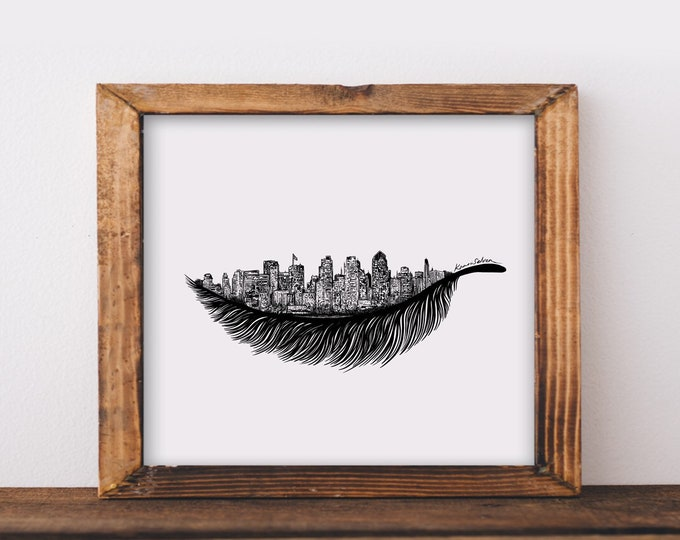 Feathered San Diego Skyline Art Print