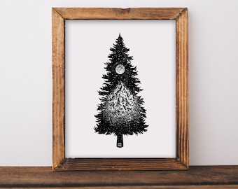 Mountainous Tree Silhouette Art Print