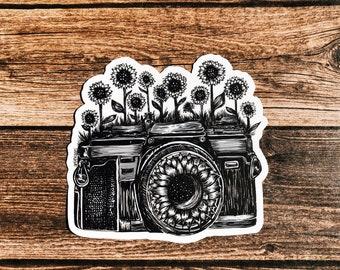 Camera + Sunflowers Vinyl Sticker