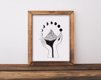 Mountain Hands + Moon Phases Art Print