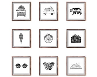 Personalized Set of 4, 9 or 16 Fine Art Prints, choose ANY drawing from my shop