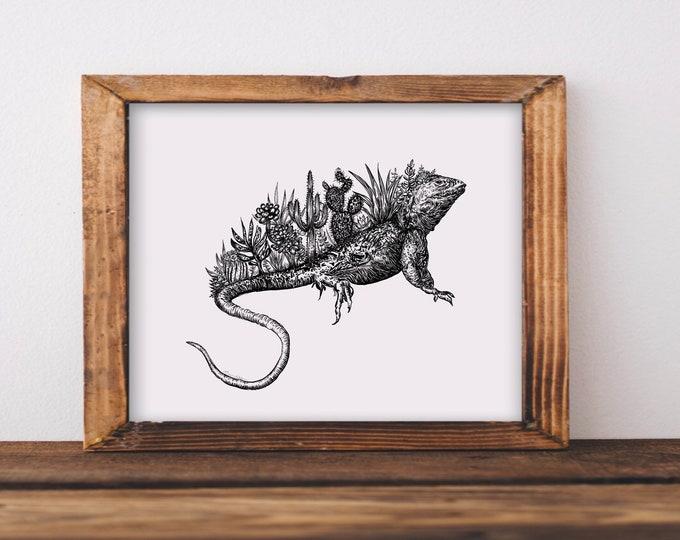 Cacti Lizard Art Print