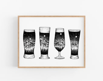 Mountain Beer Glasses Art Print