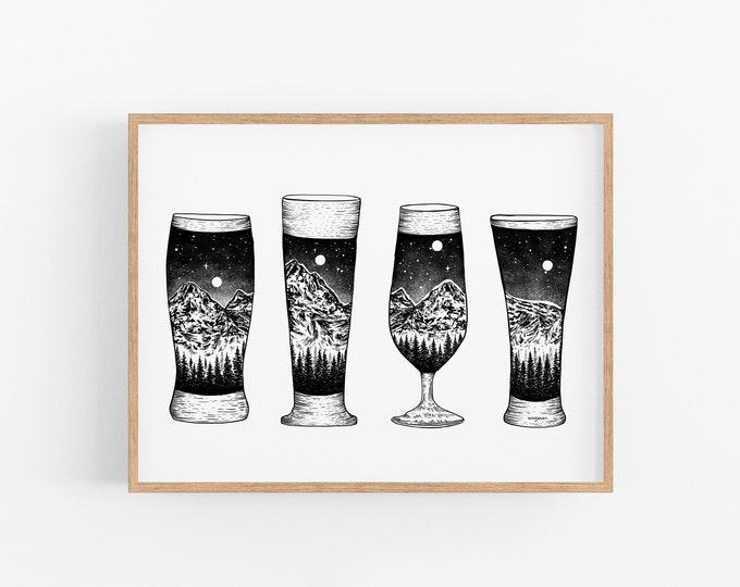 Mountain Beer Glasses Art Print
